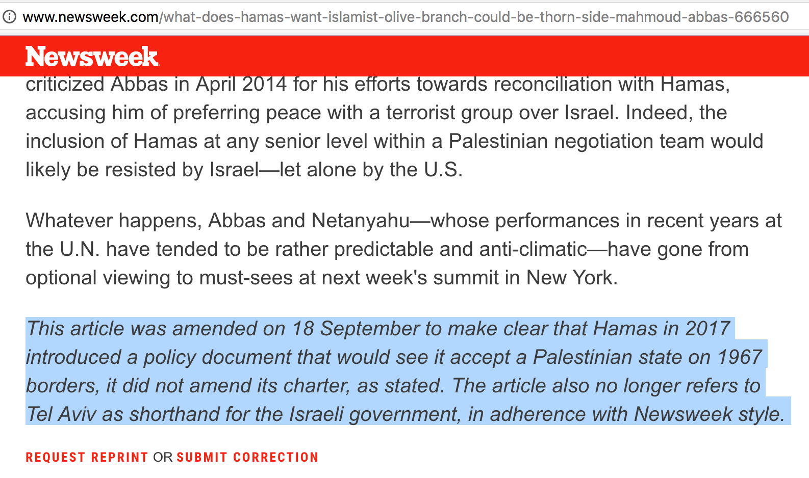 """""""نيوزويك"""" الأميركية تصحح معلومات خاطئة حول وثيقة حماس الجديدة"""